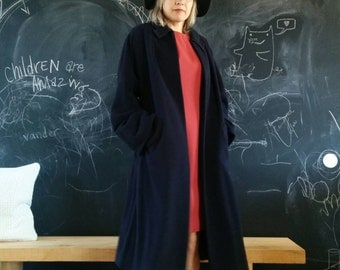 Vintage Oversized Coat-Navy Blue