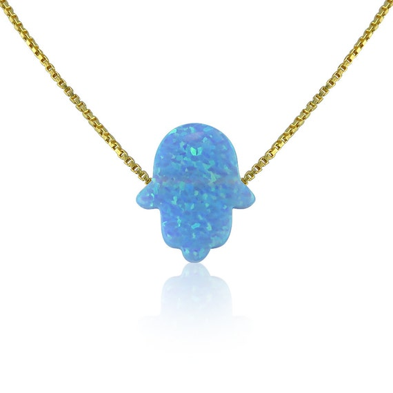 Blue opal hamsa hand necklace on a gold plated 925 sterling silver chain, Waterproof and super cute