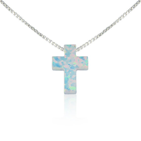 "opal cross necklace in 100% sterling silver chain, white opal cross, chain length available from 12"" to 22"" safe to get wet, ON SALE NOW"