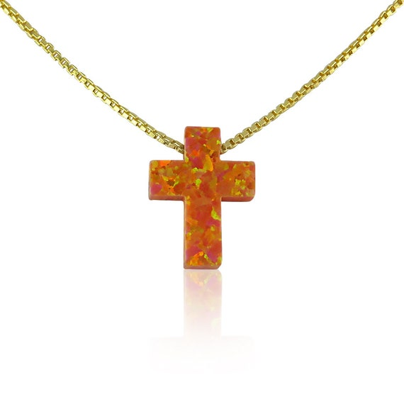 Orange cross opal necklace, Extremely rare! One of a kind on Etsy, Waterproof gold plated 925 sterling silver chain