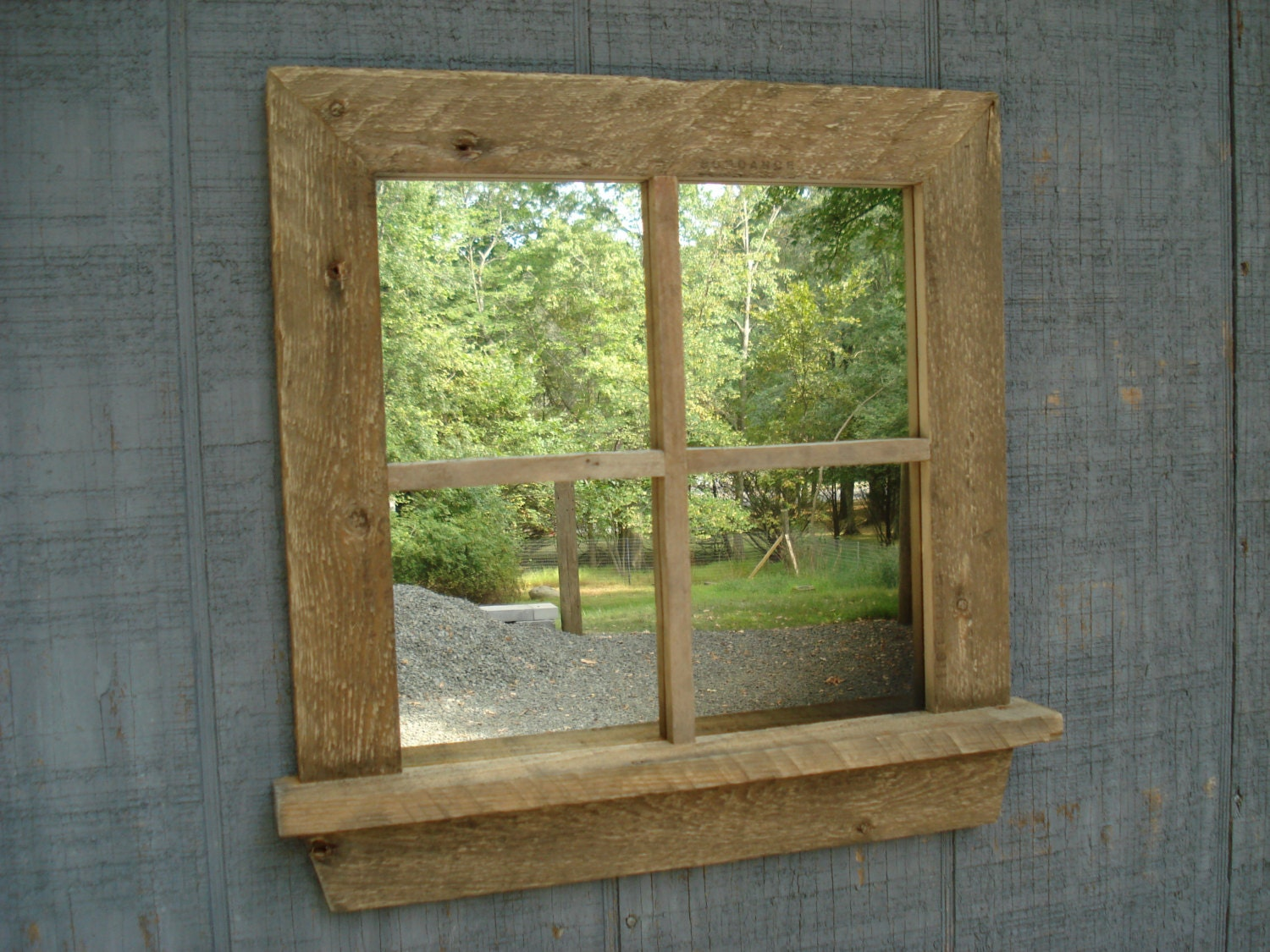 Rustic Window Mirror With Sill Square