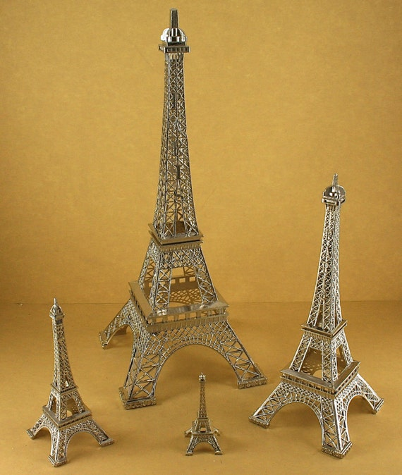 Aluminum Brass Working France: SILVER Eiffel Tower Paris France Metal By Dreampartycreation