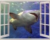 Shark wall sticker 3D window, shark wall decal for home decor, vinyl colorful shark wall art for nursery kids children home decoration [001]