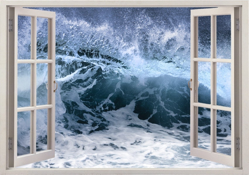 ocean wave wall sticker 3d window ocean billow wall decal for. Black Bedroom Furniture Sets. Home Design Ideas