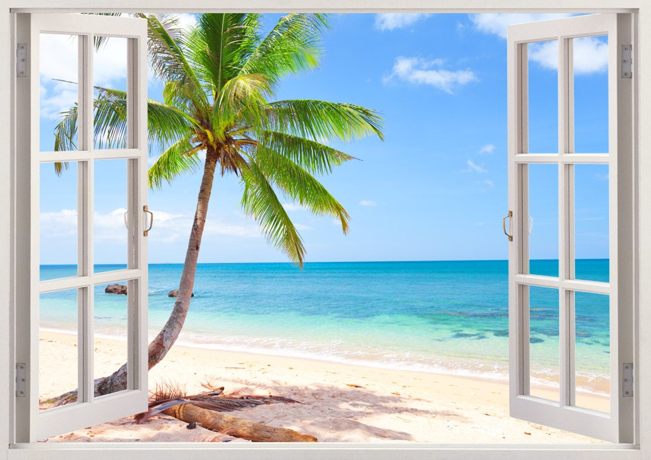 Palm tree beach wall decal 3d window tropical beach decal for Beach mural for wall