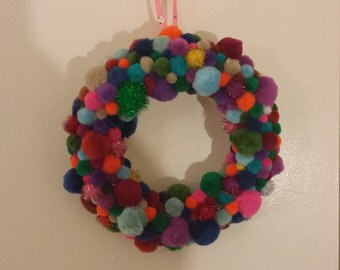 Rainbow Pom Pom Wreath