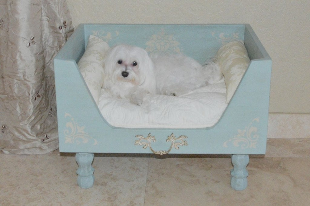 Shabby chic designer wood dog bed robin egg blue by rubypetal for Shabby chic dog