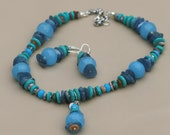 The blue caterpillar-  original handmade gemstone turquoise kyanite jade jasper beaded statement necklace& earrings, semi precious stones
