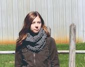 chunky hooded cowl unisex circle scarf - Avery - heather grey