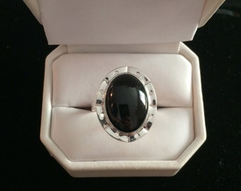 Black Jade Silver Ring