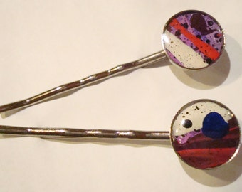 hair clips with orginal hand-painted abstract art, bobby pin with original art, artistic hair clip