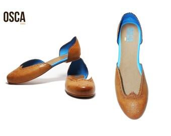 Scarlett Tan  - Handmade Women's Designer Shoes Brogue Flat Slip-on Faux Leather ALL SIZES