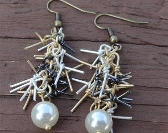 Tangled Metal & Pearl Earrings