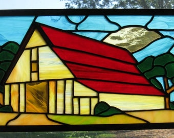 Stained Glass Barn/Red/Brown/Yellow/Art Glass/Handcrafted/Made in USA