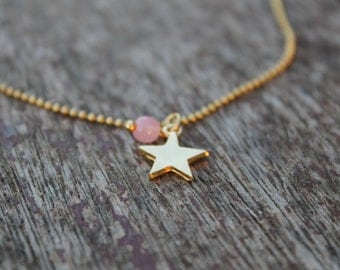 Gold chain beads with star and crystal stone rose