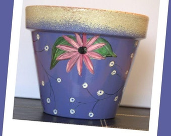 Flower Pot- 8 Inch, hand painted, Blue Madness
