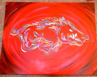 Traditional Rainbow Razorback Acrylic Painting