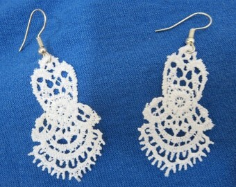 White Lace Earrings with Stainless Steel Hooks