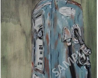 Blue Gas Pump Art Print