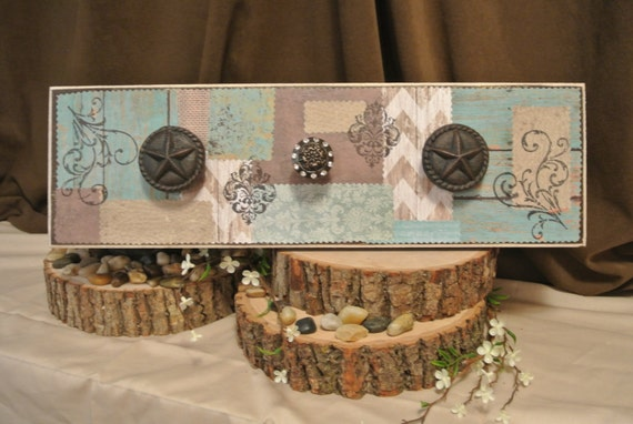 turquoise and brown hanging home decor by creativewings50