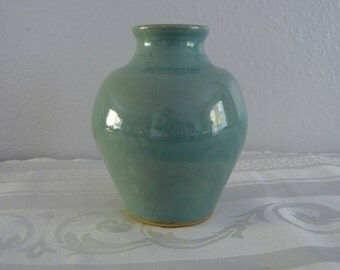 Handmade Turquoise Studio Pottery Vase