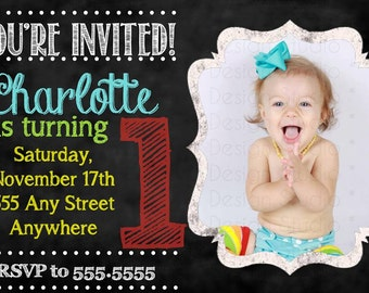 Chalkboard bright Photo Birthday Invitation