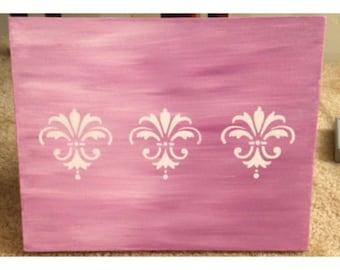 Pink Ombre Painting with White Fleur de Lis Detail