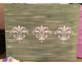 Green Painting with White Fleur de Lis Detail