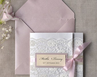 Romantic  Wedding Invitation Pink and Lace (100) ,Ivory Invitation,Pocket Fold Invitations ,Vintage Wedding invitation,