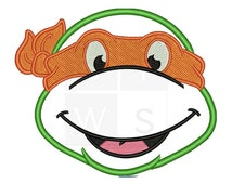 ninja turtle applique Design for Embroidery machines in 4x4 - Instant Download