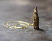 Vintage Brass Coca Cola Coke Bottle Charm Necklace
