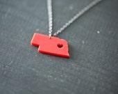 Nebraska Necklace  - Red Acrylic - Nebraska State Necklace NE Charm NE Pendant Nebraska with Heart Necklace Map Jewelry Personalized