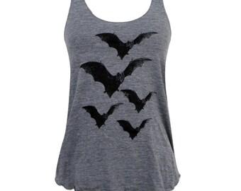 BAT Tank Top - Vintage Horror Bats  Tri-Blend Shirt - (Available in sizes S, M, L, XL)