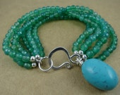 Green Onyx and Turquoise Bracelet