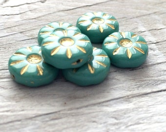 Glass Flower Beads - Coin Beads Turquoise pack of 6 (FL15)