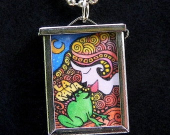 Frog Prince - The Pear / La Rana and La Pera Loteria Card - Double Sided Pendant on chain by artist CIndy Couling