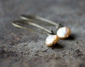 Strawberry Blonde Pearl Earrings, Natural Freshwater Pearl Dangles, Pearl Drop Earrings, Antiqued Brass Earwires, Handmade Jewelry