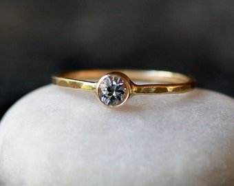 White Sapphire Ring, Gemstone Solitaire Ring, 14k Yellow Gold Band, Diamond Alternative, Gold Sapphire Ring, Recycled Gold Ring