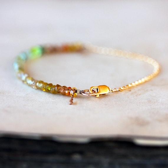 Yellow Sapphire Beaded Bracelet, Ombre Gemstone Color Spectrum, Sapphire Bracelet, Ombre Bracelet, 14k Gold Filled, Handmade Jewelry