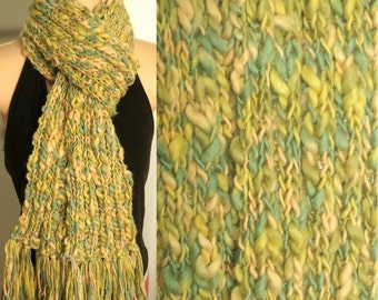 Hand Made Knit Wool Scarf Yellow Green chunky