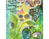 milkweed, butterfly, mushrooms, dreamy summer colors - reproduction print of mixed media painting