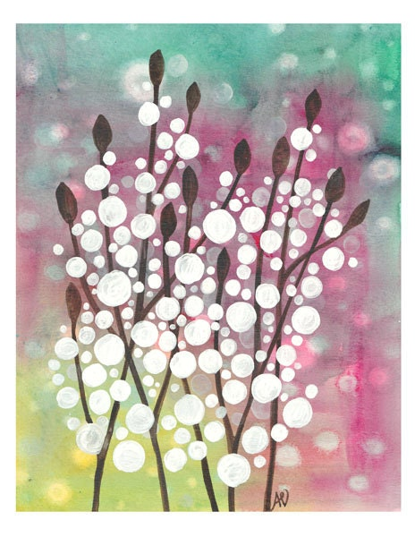 Art Pring Snowy Evening Watercolour Painting Winter Artwork