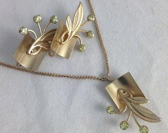 Vintage 1950s Necklace and Earrings Set Demi Parure
