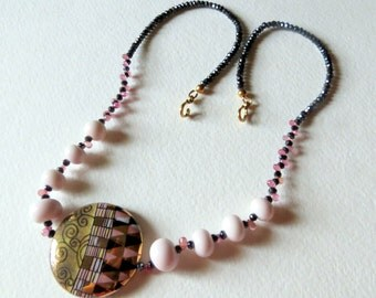 Pink and Black Sapphires with Porcelain Beads Necklace,  Gold Filled Clasp, Lampwork Beads, Smokeylady54