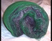 RESERVED for Jessica Howard - Violets in the Snow II - Kettle Dyed Mystery Wool & Firestar - Hand blended Spinning Batt - 2.55 oz - 72 g