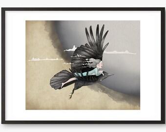 Girl Cat Print - whimsical illustration art - Valentina - Bird drawing moon girl kitten - A3 , A4, 8 x 10, A5 mini