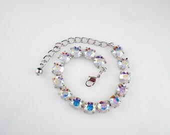 Crystal Aurora Borealis Rhinestone Bracelet Swarovski Wedding Jewelry Bridesmaid Jewelry MADE TO ORDER