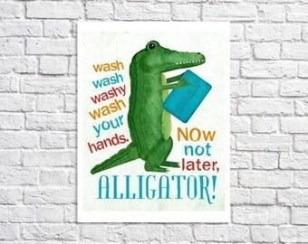 Wash Your Hands Kids Bathroom Poster Alligator Art For Bathroom Children's Bathroom Turquoise And Green Boy Bathroom Rule Sign Digital Print
