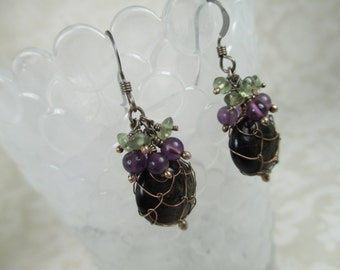 Oxidized Golden Obsidian Nautisk Earrings with Olive Apatite and Amethyst