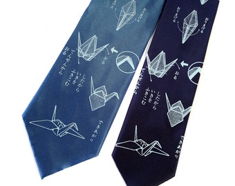 Origami Crane necktie. 100% silk. Men's silkscreen tie. Your choice of colors. Choose standard or narrow width. Light sky blue print.